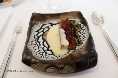 Flamed eel from Albufera and ginger emulsion, Quique Dacosta, Denia